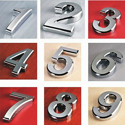 """2'' 3"""" Silver Chrome Numbers Signs House Flat Front Door Numbers Self Adhesive"""