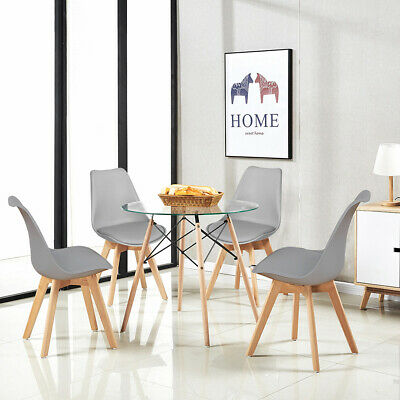 EGGREE Round Glass Dining Table And 4 Black White Grey Dining Chairs Retro Tulip