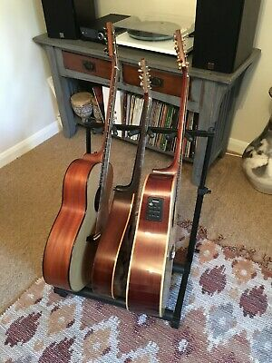 USED -3 Way Multi Guitar Padded Rack Holder Stand Electric Acoustic Bass SA