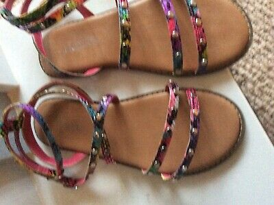 girls  Next Multicoloured Studded Sandals Size 1 Excellent Condition