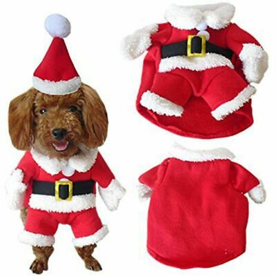 Pet Christmas Costume Dog Suit with Cap Santa Claus Coat Hoodies for Small E4T7