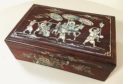 Antique chinese indochina box carved mother of pearl and wood