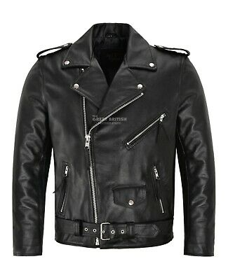 Mens Brando Leather Jacket Motorcycle Perfecto Black Cowhide Marlon Biker Jacket