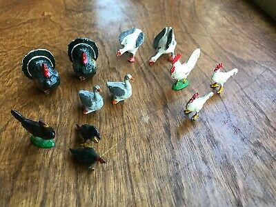 12 Vintage/Antique Metal Cast Iron Miniature Farm Chicken Turkey Duck/Geese