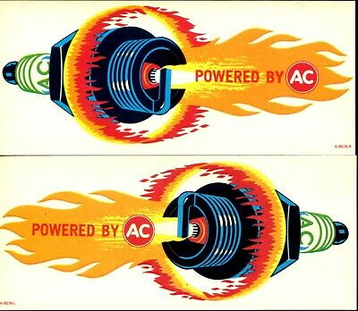 """Vintage 1960'S Ac """"Fire Ring"""" Matched Pair Stickers-The Original Design!"""
