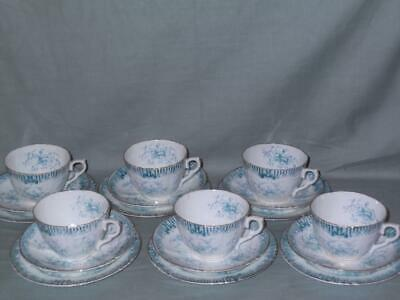 "6 Royal Albert Crown China ""Alpha"" Trios Tea Cups Saucers & Side Plates"