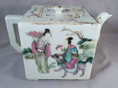 Antique 19th Century Qing Dynasty Chinese Square Famille Rose Porcelain Teapot