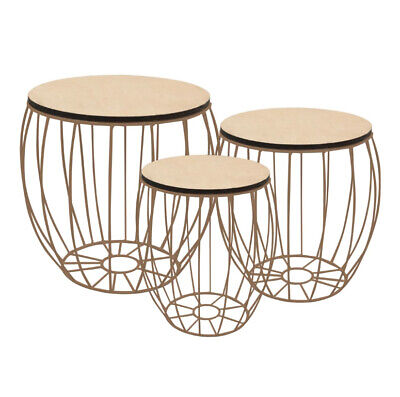 Round Industrial Coffee Table Set Of 3 Vintage Retro Style Furniture Side Tables