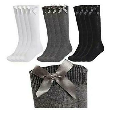 "NEW LADIES GIRLS KNEE HIGH COTTON RICH ""Back 2 School"" SOCKS WITH RIBBON BOWS"
