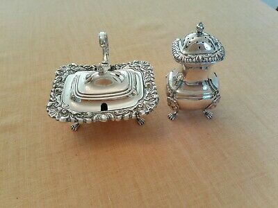 Antique Large Silver Plated Mustard And Pepper Pots.