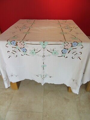 Lovely Vintage Hand  Embroidered  & Applique  Cream Cotton Tablecloth
