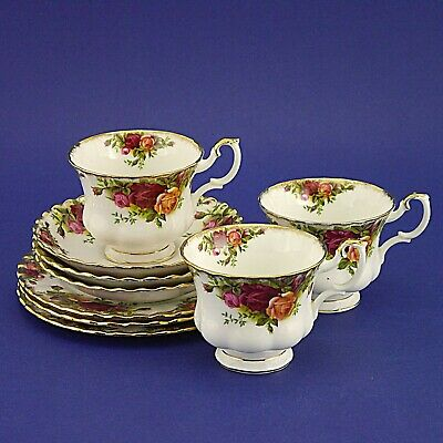 Three Royal Albert 'Old Country Roses' Tea Trios - Three Cups, Saucers & Plates