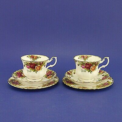 Two Royal Albert 'Old Country Roses' Tea Trios - Two Cups, Saucers & Side Plates