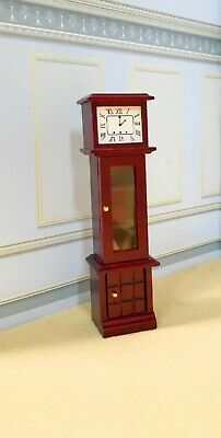 Dollhouse Miniature Non-Working Wooden  Grand-Father Clock With Display  Shelves