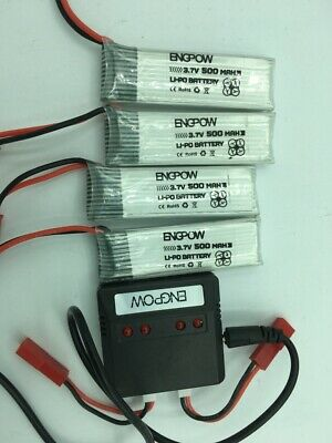 4-ENGPOW 3.7V 500mAh Rechargeable LiPo Battery and charger for RC Drone/Boat