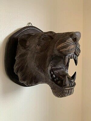 Rare LIFESIZE Antique Black Forest Hand Carved Wood Lioness Head Mount