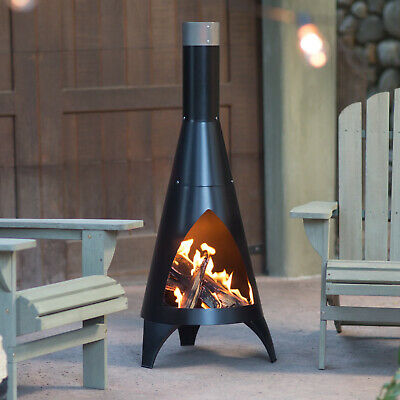 Surprising Chiminea Steel Wood Burning Outdoor Fire Pit Fireplace Patio Home Interior And Landscaping Ologienasavecom