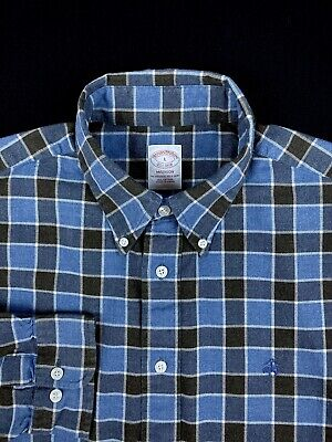 Brooks Brothers Mens Blue Plaid Check Button Down Flannel MADISON Shirt Large