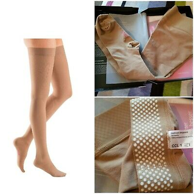 Mediven Elegance Beige Thigh Closed Toe Compression Stocking CCL1 size 1
