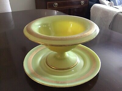 French Opaline Yellow Pedestal Dish and Plate with Gilt Accenting   2 Pieces