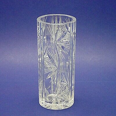 """Attractive Cylindrical Cut & Etched Clear Crystal Glass Vase - 20.25cm/8"""" High"""