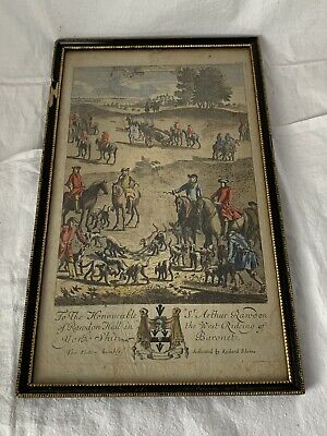 ANTIQUE framed RICHARD BLOME 'STAG HUNTING' coloured print,18th Century sports
