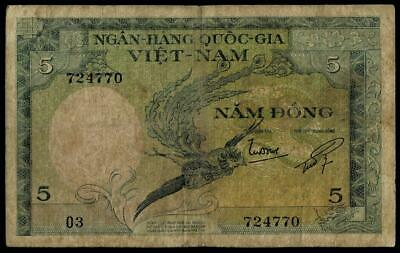 1955 Vietnam Süd Banknote 5 Dong