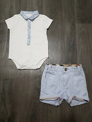 Burberry Baby Boy Outfit 3 Months (0-3) Bodysuit,Shorts,Set,Designer,Top