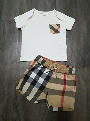 BURBERRY BABY BOY OUTFIT 6 Months FIT (3-6) SHORTS,TOP,DESIGNER,BUNDLE,AUTHENTIC