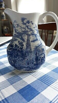 "Liberty Blue Old North Church 7½""H Beverage Vintage Pitcher Euc"