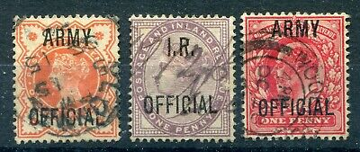 GB c1880-1903. ARMY & I.R. OFFICIAL stamps. Used. SG O3, O41, O49.