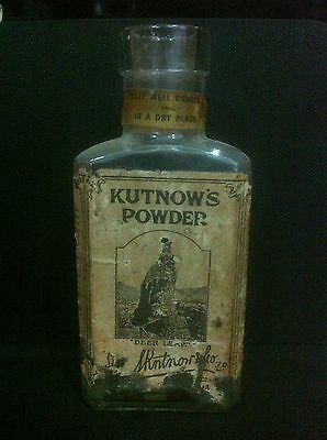 "Antique Quack Medicine "" Kutnow's Powder "" Chemist Glass Bottle W/ Orig Labels"