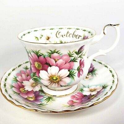 Royal Albert Cosmos October Flower of the Month 1970 Teacup Saucer Bone China