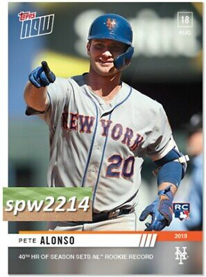 2019 Topps Now Pete Alonso RC #705 40th HR Sets NL Rookie Record