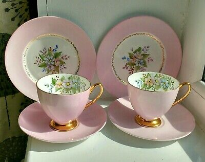 2 x Shelley Bone China Trios Pink Floral & Gold vintage tea cups saucers plates