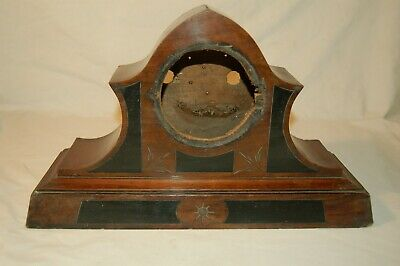 Large Carved and Inlaid Mahogany Arched top Clock Case for Restoration (CA18)