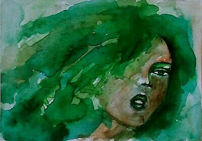 Aceo Original Art Painting Miniature Woman Fantasy Sketch Abstract Girl by Iwy