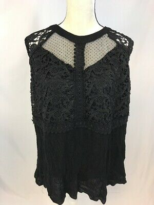 Maurices Women's Black Mesh/Lace Sleeveless Open Back Pullover Blouse Sz 2