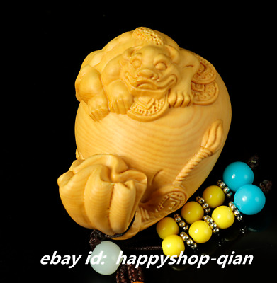 57MM China Box-wood Hand-carved Wealth Pixiu Beast Moneybag Small Amulet Pendant