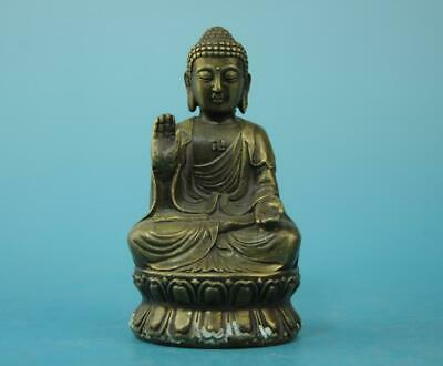 china old copper hand-carved Sakyamuni exorcise evil spirits Buddha statue d01