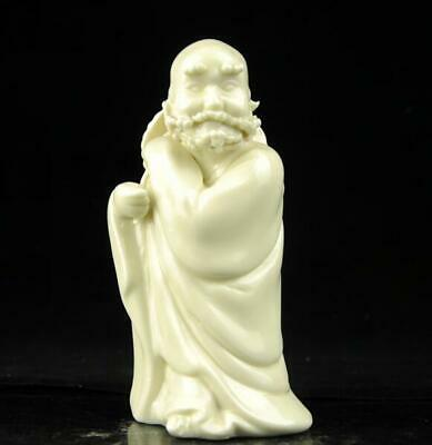 china old Dehua white porcelain carved cross the river arhat Buddha statue b02