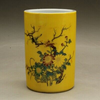 Chinese old hand carved porcelain famille rose flower pattern brush pot c01
