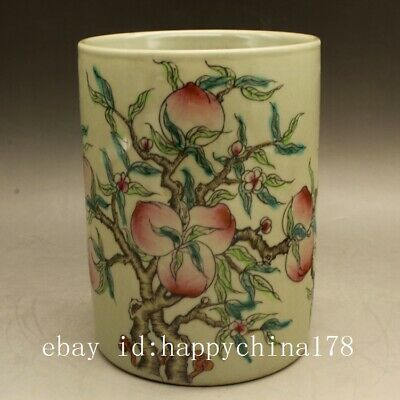 Chinese old hand-carved porcelain famille rose peach brush pot c01