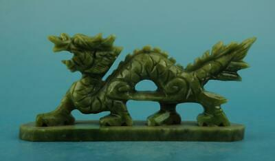 chinese old natural jade hand-carved dragon statue b02