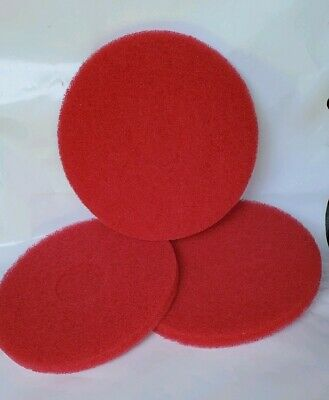 "3 -12"" Red Buffing Floor Maintenance Pads"