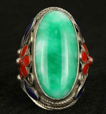 Old Handwork Natural Green Jade Tibet Silver Enamel Flower Adjust Ring a02