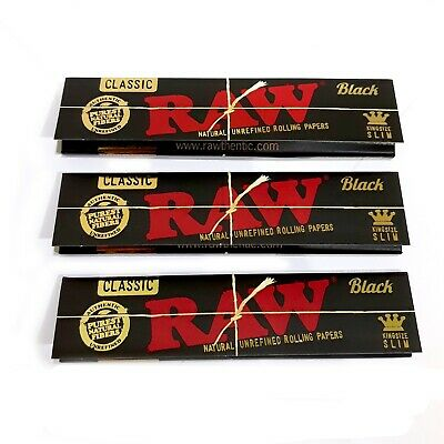 RAW Black Rolling Papers Natural Unrefined Skins 110mm King Size Slim Classic