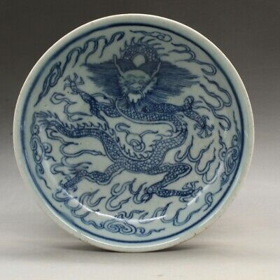 Chinese old hand-carved Blue and white porcelain dragon pattern plate b02