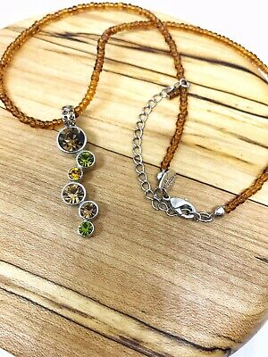 Lia Sophia ROOT BEER FLOAT Glass Beads Chain NECKLACE Cut Crystal Silver
