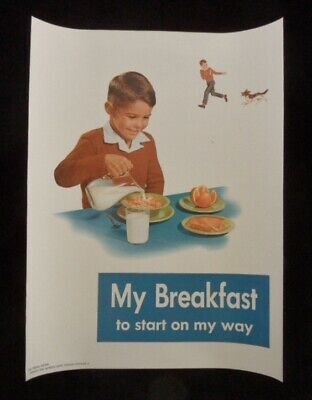 >orig. 1958 NATIONAL DAIRY COUNCIL 18x14 POSTER **My Breakfast To Start Day **